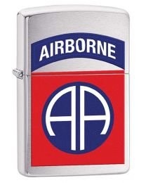 US Army 82nd Airborne Zippo Lighter in Brushed Chrome 29181
