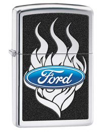 Ford Flames Zippo Lighter in Polished Chrome 29297