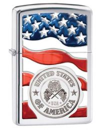 US Flag and Badge Zippo Lighter in Polished Chrome 29395