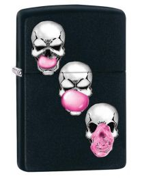 Bubble Gum Skulls Zippo Lighter in Matte Black 29398