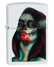 Day of The Dead Tattoo Lady Zippo Lighter in Matte White 29400