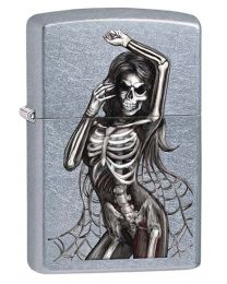 Skeleton Lady Zippo Lighter in Street Chrome 29403