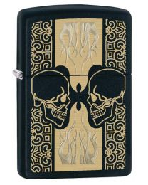 Opposing Skulls Zippo Lighter in Matte Black 29404