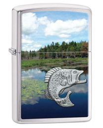 Fishing Scene Zippo Lighter with Pewter Emblem 29408