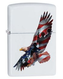 Eagle Flag Soldiers Zippo Lighter in White Matte 29418