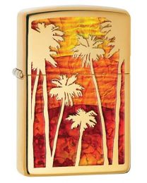 Fusion Palm Tree Sunset Zippo Lighter in Polished Brass 29420