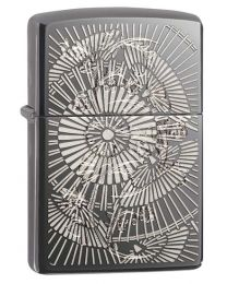 Asian Floral Zippo Lighter in Black Ice 29421