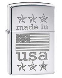 Made in USA Flag Zippo Lighter in Polished Chrome 29430