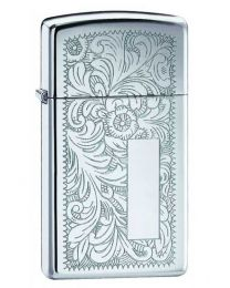 Slim Venetian Polished Chrome Zippo Lighter 1652