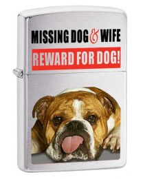 Missing Dog and Wife Zippo Lighter in Brushed Chrome 2003-642