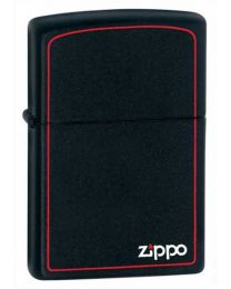Matte Black Zippo Lighter with Border 218ZB