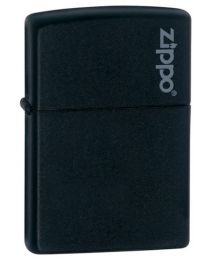 Matte Black Zippo Lighter with Logo 218ZL