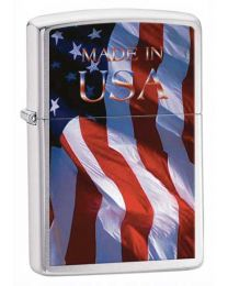 Made in USA Brushed Chrome Zippo Lighter
