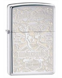 Harley Davidson Skull Zippo Lighter in Polished Chrome 28229