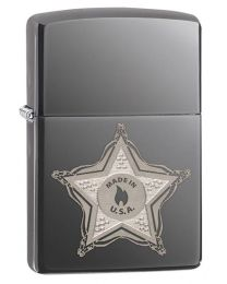 Star Badge Black Ice Zippo Lighter 28360