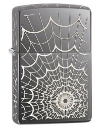 Web All Over Zippo Lighter in Black Ice 28527