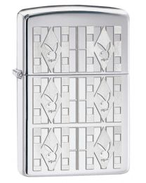 Playboy Triangles Zippo Lighter in Polished Chrome 28624