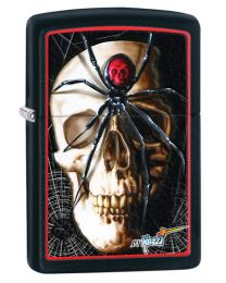 Mazzi Skull and Spider Zippo Lighter in Matte Black 28627