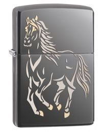Running Horse Zippo Lighter in Black Ice 28645