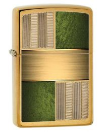 Brass and Green Zippo Lighter in Brushed Brass 28796