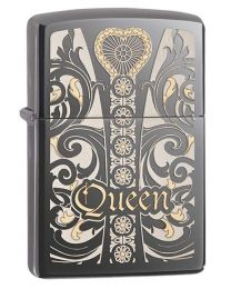 Queen Zippo Lighter in Black Ice 28797