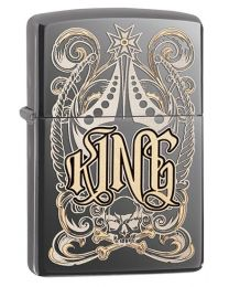 King Zippo Lighter in Black Ice 28798