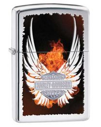 Harley Davidson Wings Zippo Lighter in Polished Chrome 28824