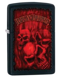 Harley Davidson Skulls Zippo Lighter in Matte Black 28826