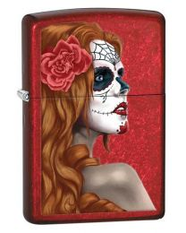 Day of The Dead Girl Zippo Lighter in Candy Apple Red 28830