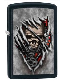 Skull Gears Zippo Lighter in Matte Black 28882