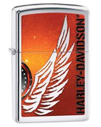 Harley Davidson HD Wing Zippo Lighter in Polished Chrome 28977