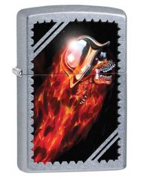 Chrome Skull Zippo Lighter in Street Chrome 29067
