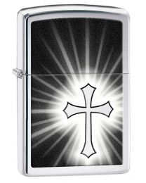 Reflective Cross Zippo Lighter in Polished Chrome 29074