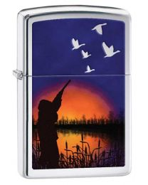 Duck Hunting Zippo Lighter in Polished Chrome 29076