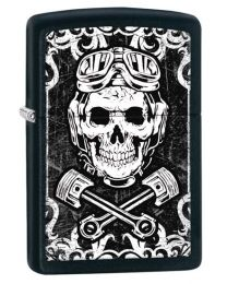 Skull Pistons Zippo Lighter in Matte Black 29088
