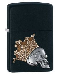 King Skull Zippo Lighter in Matte Black 29100