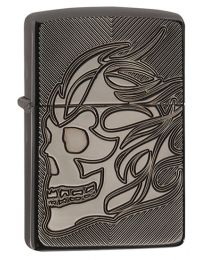 Armor Skull Zippo Lighter in Black Ice 29230