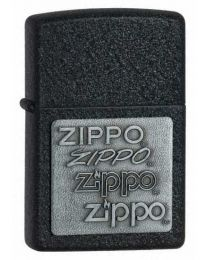 Black Crackle with Pewter Emblem Zippo Lighter 363