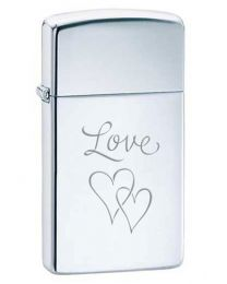 Slim Love and Hearts Zippo Lighter in Polished Chrome