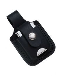 Black Leather Zippo Lighter Pouch with Loop and Thumb Notch