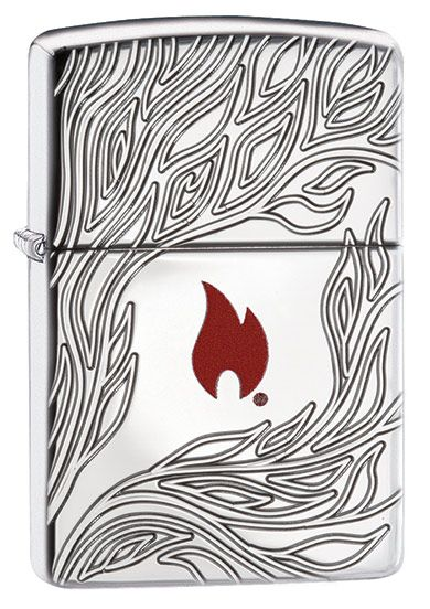 Zippo Flame Lighter In Armor Polished Chrome 60003416