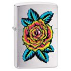 Tattoo Flower Zippo Lighter in Brushed Chrome 29399
