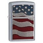 Diamond Plate Flag Zippo Lighter in Street Chrome 29513