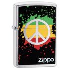 Zippo Peace Zippo Lighter in Brushed Chrome 29606