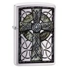 Celtic Cross Design Zippo Lighter in Brushed Chrome 29622