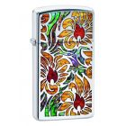 Slim Fusion Floral Design Zippo Lighter in Polished Chrome 29702