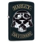 Harley Davidson Skull Motorbike Rider Zippo Lighter in Matte Black 29738
