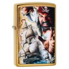 Mazzi Pirate Ship Zippo Lighter in Brushed Brass 29781