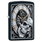 Skull Clock Design Zippo Lighter in Matte Black 29854