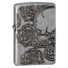 Armor Skull Roses Zippo Lighter in Antique Silver Plate 28988
